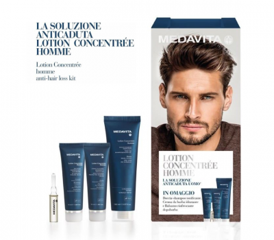 """A toolkit for every man who wants to fight hair loss energetically"" A male anti-hair loss* programme that stimulates new growth, reinforces the anchorage of the hair and lengthens its lifespan thanks to a pool of active ingredients of plant origin. The formula is enriched with Serenoa repens to fight 5alpha-reductase and transform the testosterone into dihydrotestosterone that is responsible for androgenetic alopecia. MEDAVITA LOTION - CONCENTREE HOMME: Take it home for $85"